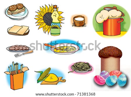 Hand drawn illustrations of some foods. On white background