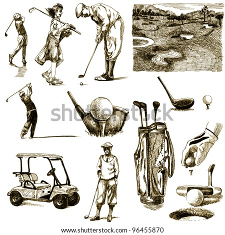 "hand-drawn images - collection - "" ON THE GOLF "" - drawing a hard-tip marker - vintage variation in brown-black"