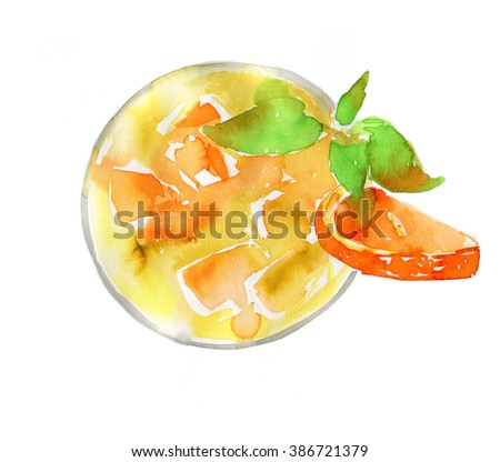 Hand drawn isolated cocktail on white background. Artistic illustration. #386721379