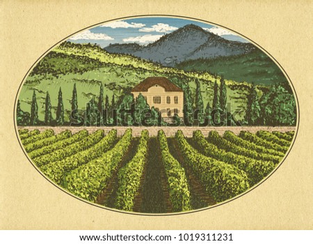 Hand drawn landscape. Antique house, garden, vineyard. Abstract nature background. Craft paper texture background. Template for your desigm works. Engraved style illustration.