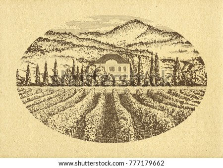 Hand drawn landscape. Antique house, garden, vineyard. Old craft paper texture. Abstract nature background. Template for your design works. Engraved style illustration.