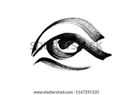hand drawn left eye with black brush. #1167295105