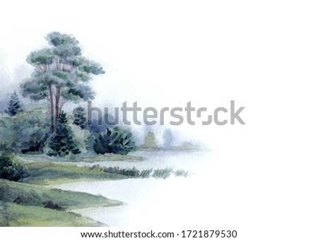 Hand drawn light watercolour artwork paint sketch on paper backdrop text space. Grey color dark calm rural meadow fall mist smoke sea scenic view. Shrub thicket plant park. Haze white creek bay scene