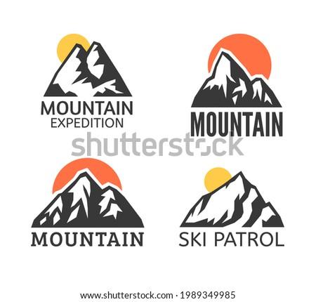 Hand Drawn Mountain Isolated.  Illustration Ski Resort Logo. Drawing Camping Element Winter Landscape