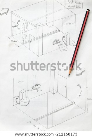hand drawn of bathroom draft sketch and pencil