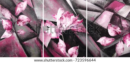 Hand drawn oil painting - stylized triptych with flower, leaves. Abstract art illustration on canvas. texture. In Interior Modern, Contemporary art. pink