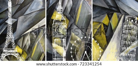 Hand drawn oil painting - triptych. Abstract art background on canvas. London, Paris, Pisa. Travel. In Interior Modern, Contemporary art. Yellow geometric