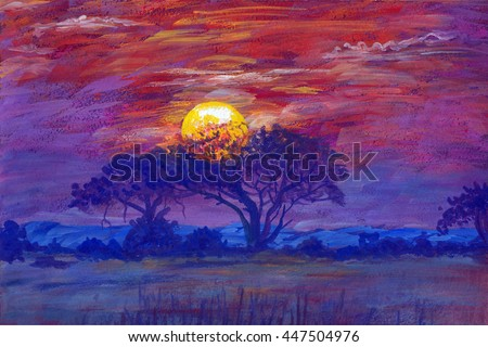 Hand drawn painting african landscape. illustration