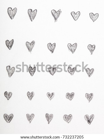 Hand drawn pencil sketches of heart shapes, repetition exercises #732237205