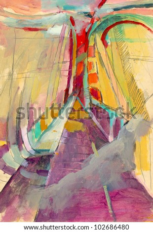"""Hand-drawn picture. Mixed media - pencil and acrylic paint. Abstract painting - on """"Bridges"""" theme."""