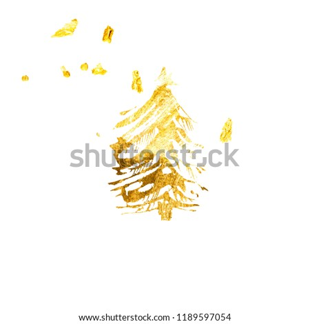 Hand drawn rough golden paint texture. Christmas tree and confetti for holidays and celebration party invitations. Metallic foil glittering festive and luxury background.