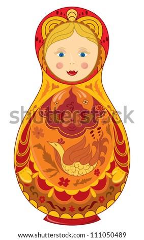 Hand drawn russian doll  raster version