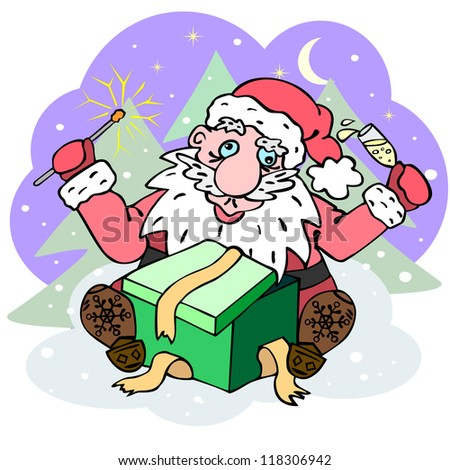 Hand drawn Santa Claus sitting with sparkler and glass of wine