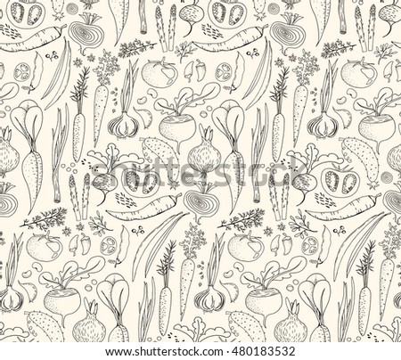 Hand-drawn seamless doodles pattern with different vegetables: tomato, onion, beet, cucumber etc. Harvest repeated background. Line art #480183532