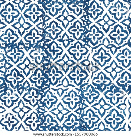 Hand drawn seamless pattern. Abstract background with stamped tiles. Print in Stamping style #1557980066