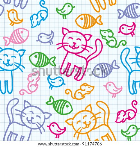 hand drawn seamless pattern with funny cats