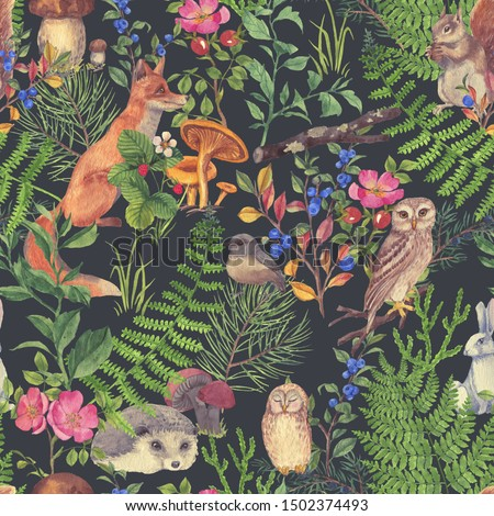 Hand drawn seamless pattern with watercolor forest animals and plants. Pattern for kids wallpaper, wood inhabitants, cute animals Photo stock ©