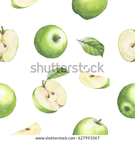 Hand drawn seamless pattern with watercolor green apples. Apples and leaves on the white background.