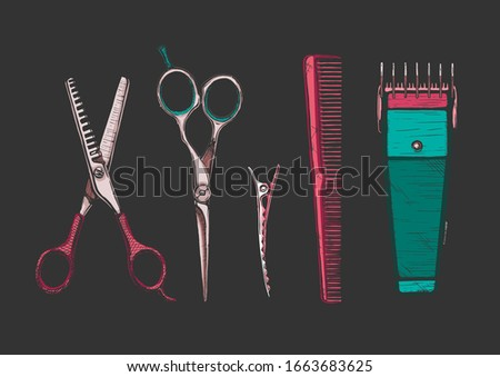 hand drawn set of hairdressers professional tools. Thinning shears, hair-cutting shears, barrette alligator clips, comb, electric hair clipper