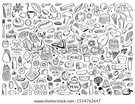Hand drawn set of healthy food ingredient doodles with lettering in