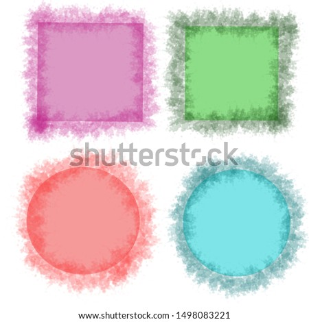Hand drawn set of labels, square and round purple, some green, some orang, some blue