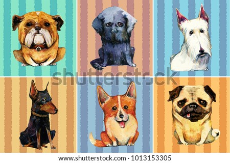 Hand drawn set of six watercolor dogs on striped background