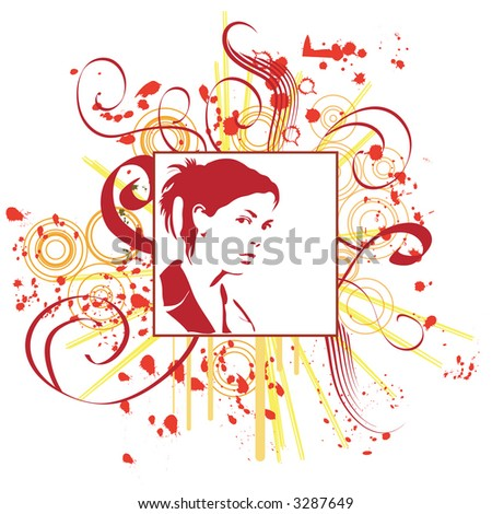 hand drawn silhouette of a woman - stock photo