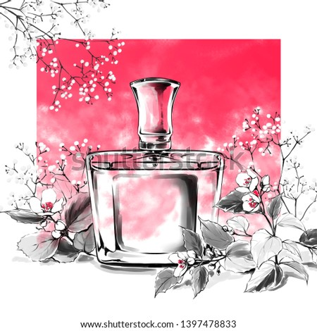Hand drawn  sketch,french perfume. Freehand drawing,white background.Fashion illustration.Glass bottle of floral aroma and natural flowers. Perfect for invitation,greeting card,poster, art print