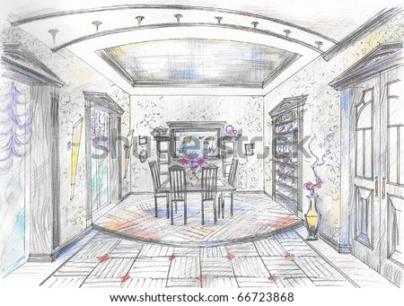 Dining Room on Hand Drawn Sketch Of Dining Room Stock Photo 66723868   Shutterstock