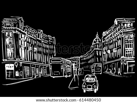 Hand-drawn sketch of Regent Street in the West End of London, United Kingdom