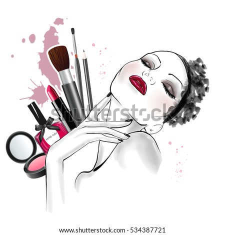 Hand drawn sketch of woman face with different types of make up on background -  line art sketch - beautiful woman illustration