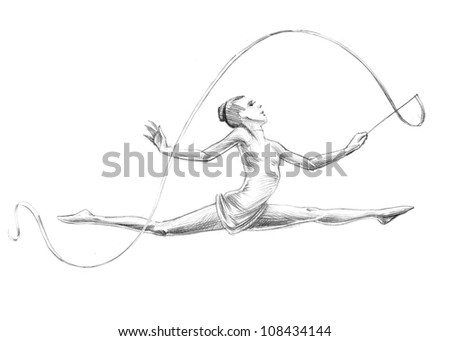 Hand-drawn Sketch, Pencil Illustration Athletes | Rhythmic Gymnastics - Ribbon | High Resolution Scan