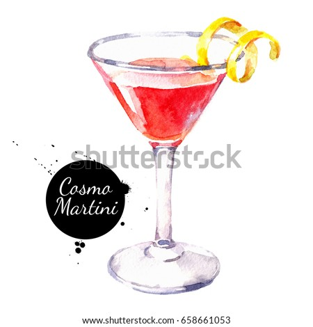 Hand drawn sketch watercolor cocktail Cosmo Martini. Painting isolated food illustration