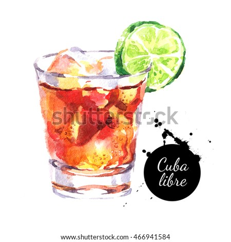 Hand drawn sketch watercolor cocktail Cuba Libre. Isolated food illustration