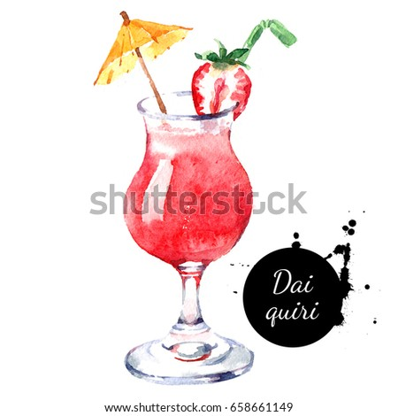 Hand drawn sketch watercolor cocktail Daiquiri. Painting isolated food illustration
