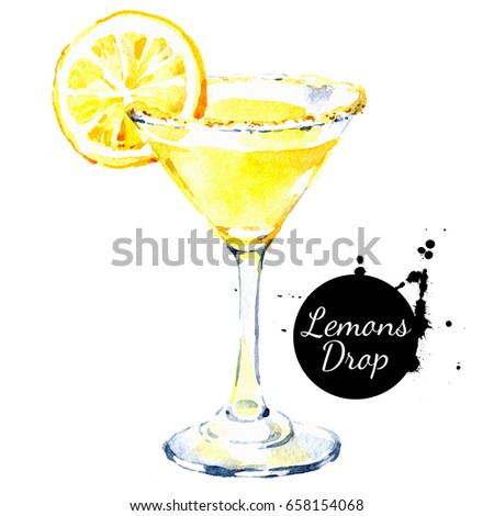 Hand drawn sketch watercolor cocktail Lemons Drop. Painting isolated food illustration