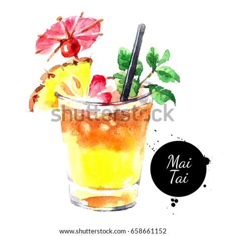 Hand drawn sketch watercolor cocktail Mai Tai. Painting isolated food illustration