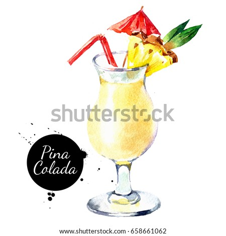 Hand drawn sketch watercolor cocktail Pina Colada. Painting isolated food illustration