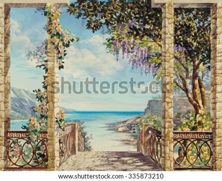 stock photo hand drawn sketch with landscape watercolor hand drawn sketch with seascape view from the terrace 335873210 - Каталог — Фотообои «Балконы, арки»