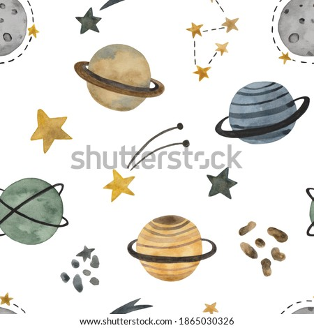 Hand drawn space elements seamless pattern. Space watercolor illustration. Cute space background for Kids with planets, comets and stars. Perfect for wallpaper, wrapper, textile, fabric, packaging