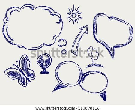 Hand drawn speech bubbles. Raster