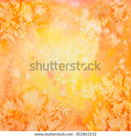 Hand Drawn Square Autumn Orange Watercolor Grunge Background
