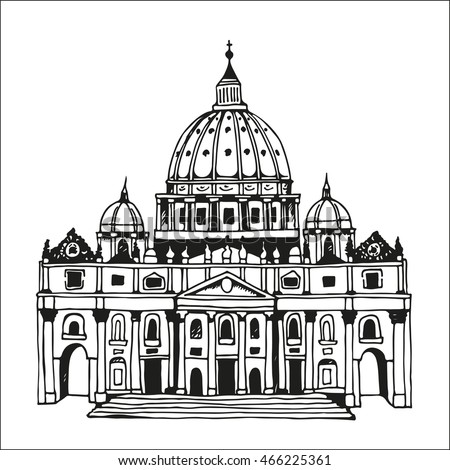 hand drawn st. peter's basilica ...