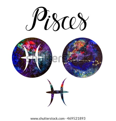 Hand Drawn Symbols For Astrological Zodiac Sign Pisces With