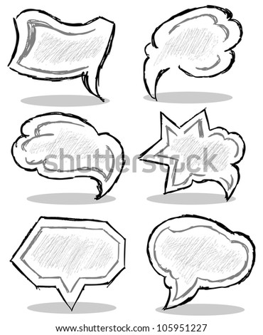 Hand drawn thought bubbles. Raster version