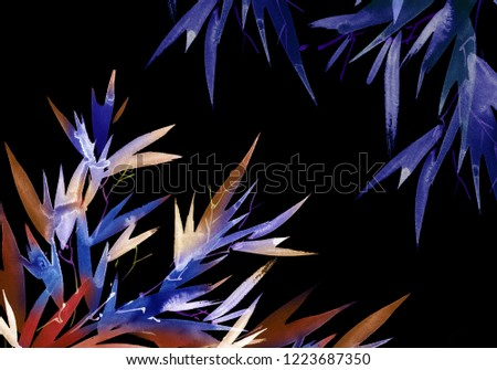 Hand drawn tropical bamboo leaves in neon vibrant colors, holographic background