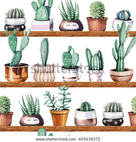 Hand drawn various of cactus in ceramic pots seamless pattern.