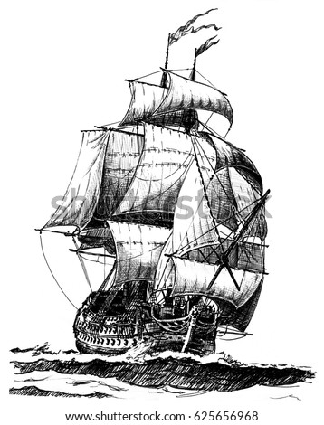 Hand drawn vintage sailing ship.