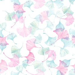 Hand drawn water color  ginkgo leaf all over seamless repeat pattern in pastel colors.