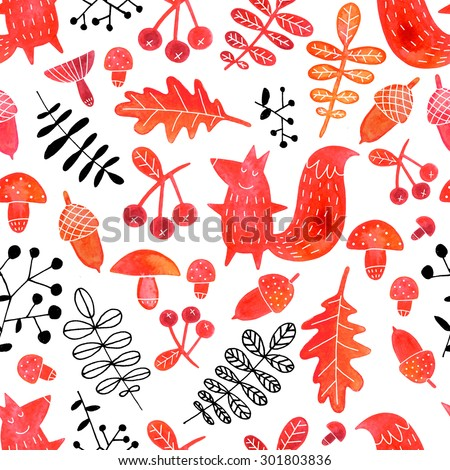 Hand drawn watercolor autumn seamless pattern with squirrels, mushrooms, acorns, leaves and berries silhouettes on white background. Watercolor autumn themed pattern. - stock photo